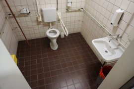 The accessible toilet at the Hugo R Kruyt building