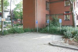 The parking spaces for disabled at the Sjoerd Groenman building
