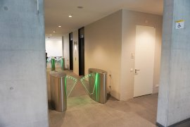 The area that gives access to the elevators (access card required)