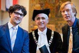 Marc van Mil,  Bert van der Zwaan (rector magnificus), Maarten Prak, v.l.n.r. (from left to right)