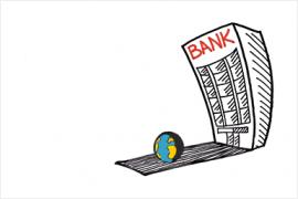 bankgebouw hangt dreigend over kleine wereldbol