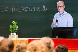 Programmamanager Michiel Scherrenburg op Duurzame UU-dag 2016.