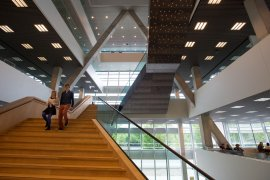 Studenten lopen trap af in Universiteitspand