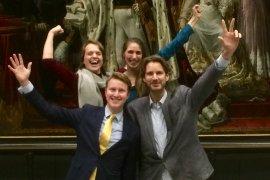 Otto Spijkers en zijn teamgenoten op het Strategic Forecasting toernooi