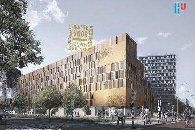 Artist impression van de nieuwbouw Hogeschool Utrecht (Foto: HU)