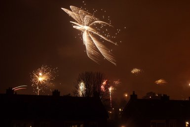 Vuurwerk boven Nederland tijdens de jaarwisseling