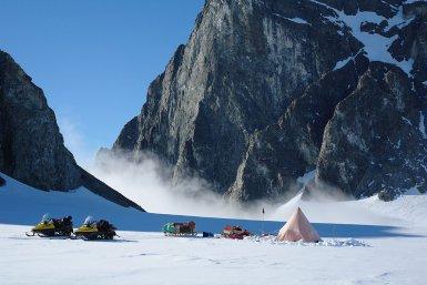 British Antarctic Survey two-man field camp next to The Obelisk on Alexander Island, Antarctic Peninsula (Hamish Pritchard, BAS)