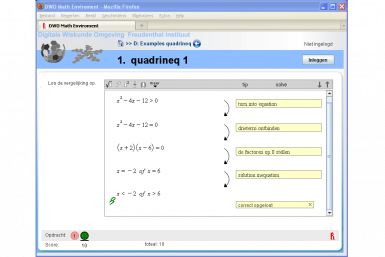 Screenshot of the Digital Mathematics Environment project