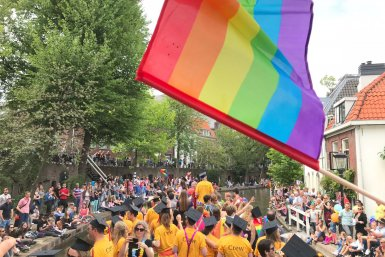 UU boat during Utrecht Canal Pride 2018