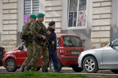 Czech soldiers and police officer in Brno