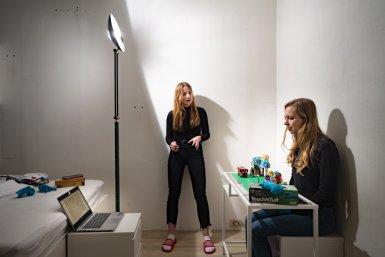 Studenten Da Vinci Project maken filmopnamen, foto: Ivar Pel