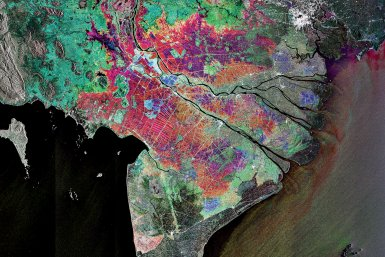 Subsidence threatens the Mekong delta's rich farmland. Colors in this composite image reflect land cover changes over time. Image: ESA