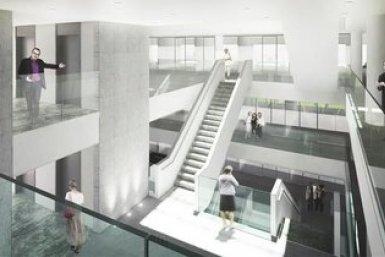 Ontwerp van de trappenhal van het Earth Simulation Lab