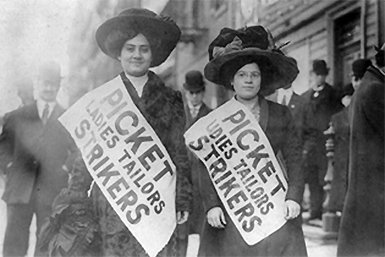 Female textile strikers in New York City, 1910 (Library of Congress)