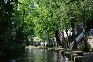 Oudegracht Utrecht in de zomer met veel groen
