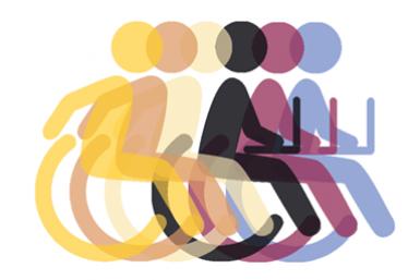 overlappende iconen van persoon in rolstoel met en zonder laptop
