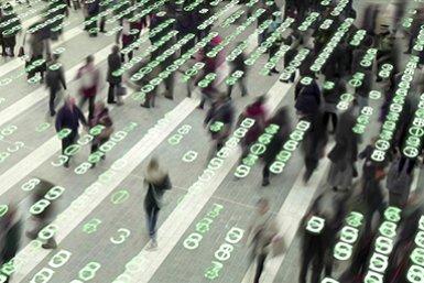 Artist's impression van een groep mensen in een openbare ruimte vol data en cijfers