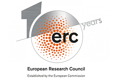 Logo van de 'ERC 10 years anniversary celebrations'.