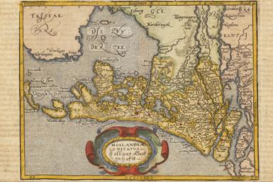 Topografische kaart van Nederland uit 1598.