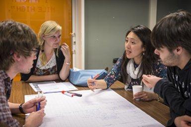 Honoursstudenten overleggen in werkgroep