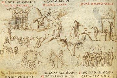Een fragment uit het Utrechts Psalter