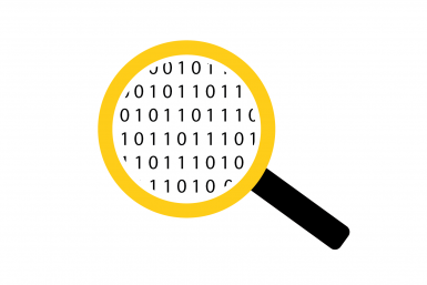 Icon of a magnifying glass which focuses on finding data