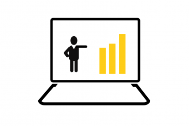 Icon of person inside a laptop pointing to data