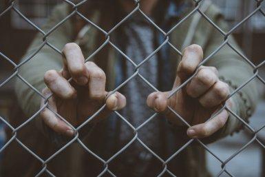 Handen die in een hek klauwen