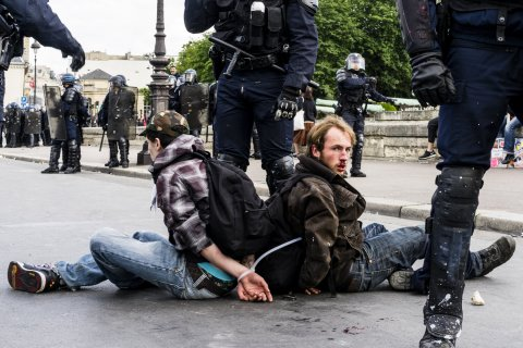 Youth protesting in France - by Wilco Versteeg