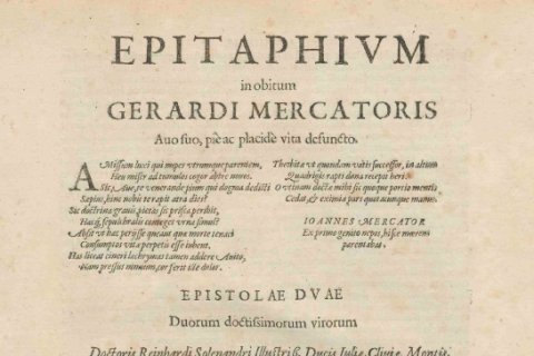 Epitaphium in de Atlas van Mercator, 1606