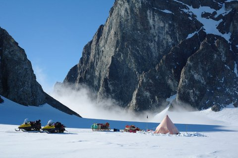 British Antarctic Survey two-man field camp next to The Obelisk on Alexander Island, Antarctic Peninsula (Hamish Pritchard, BAS)
