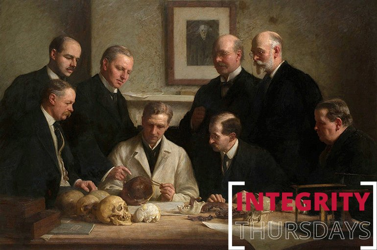 Group portrait of the Piltdown skull being examined. Painting by John Cooke (1915) Source: Wikimedia