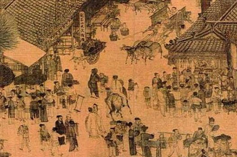 A detail from Along the River During the Qingming Festival, a 12th-century painting showing everyday life in the Song dynasty's capital, Bianjing (present-day Kaifeng). Source: Wikimedia Commons
