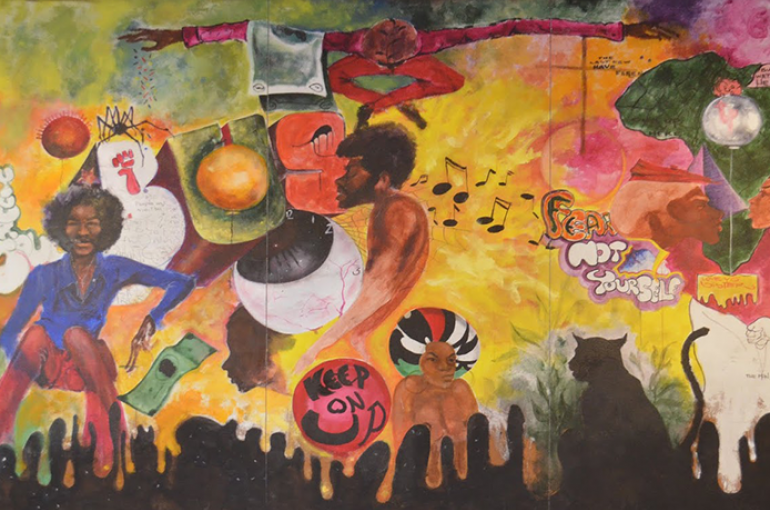 A painting dedicated to the founders of Black History Month, the Black United Students at Kent State University, by Ernie Pryor / Kkhemet