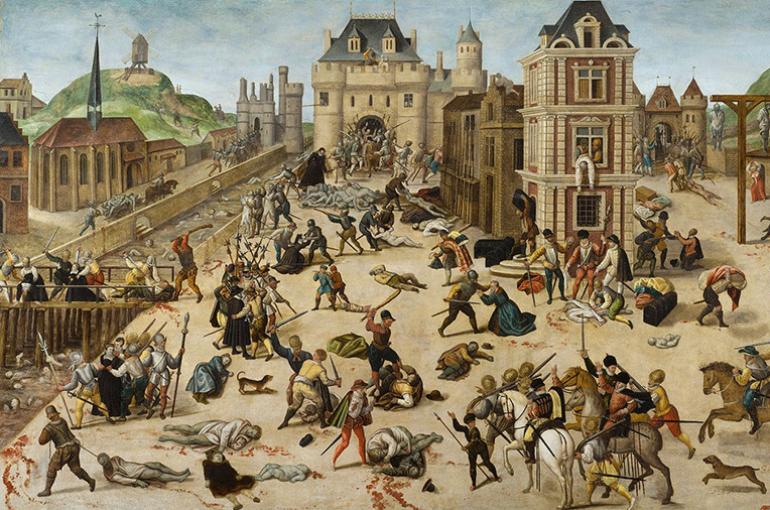 De Bartholomeusnacht (1572). Bron: Wikimedia/Musée cantonal des Beaux-Arts