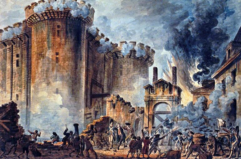 De bestorming van de Bastille (14 juli 1789), Jean-Pierre Houël. Bron: Wikimedia