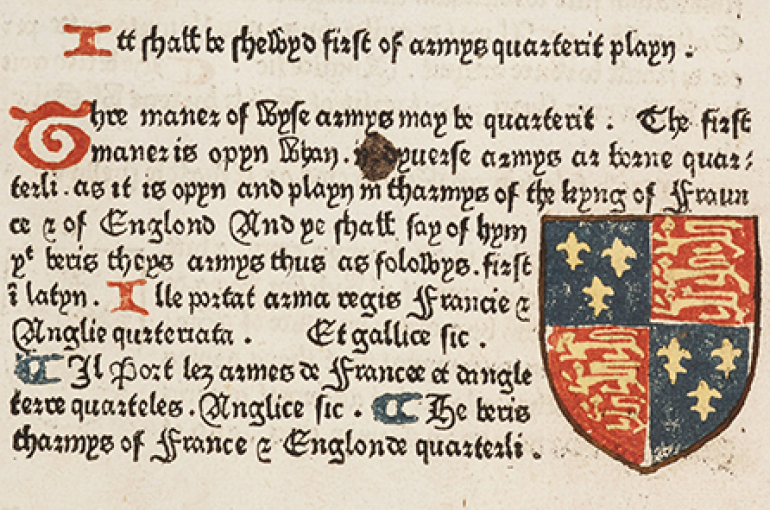Book of Saint Albans: Page with the Royal Arms of England. Bron: Wikimedia/Cambridge University Library