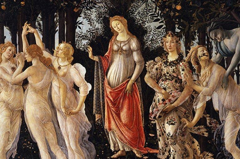 La Primavera van Sandro Botticelli, Uffizi-museum Florence. Bron: Wikimedia