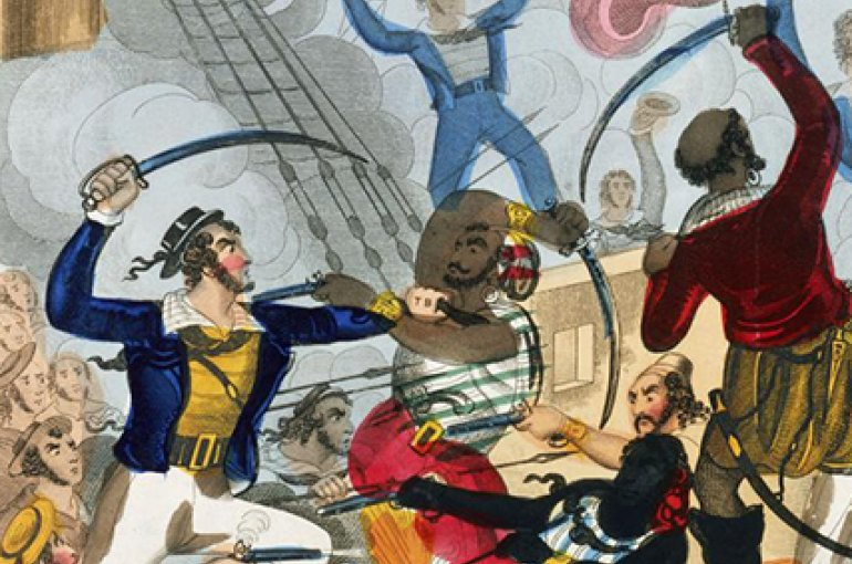 British sailors boarding an Algerine pirate ship and battling the pirates; colored engraving by John Fairburn (1793–1832). Source: Wikimedia/Royal Museums Greenwich