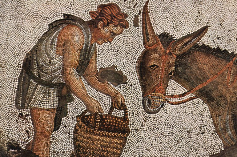 Scene from daily life on a mosaic from the Great Palace of Constantinople, early 6th century. Source: Wikimedia Commons