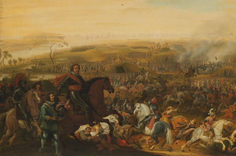 Prins Maurits in de Slag bij Nieuwpoort, 2 juli 1600, Pauwels van Hillegaert, ca. 1632 - ca. 1640. Bron: Rijksmuseum.nl