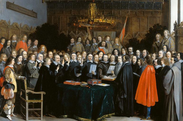 De Vrede van Münster  (Gerard Terborch, 1648). Bron: Wikemedia