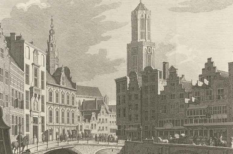 Gezicht op het oude stadhuis van Utrecht, Jan Caspar Philips, naar Cornelis Pronk, 1756.  Bron: Rijksmuseum Amsterdam