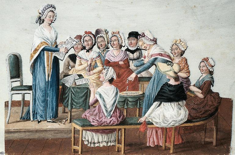 Etta Palm d'Aelders bij een bijeenkomst van de 'Club Patriotique de Femmes', prent van Jean-Baptiste Lesueur. Bron: Wikimedia