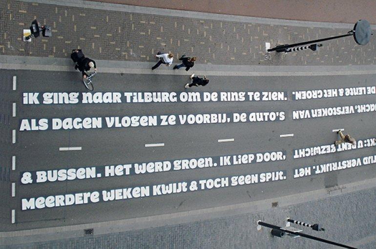 Gedicht van Nick J. Swarth en Sander Neijnens op de Paleisring in Tilburg door www.onsitepoetry.eu