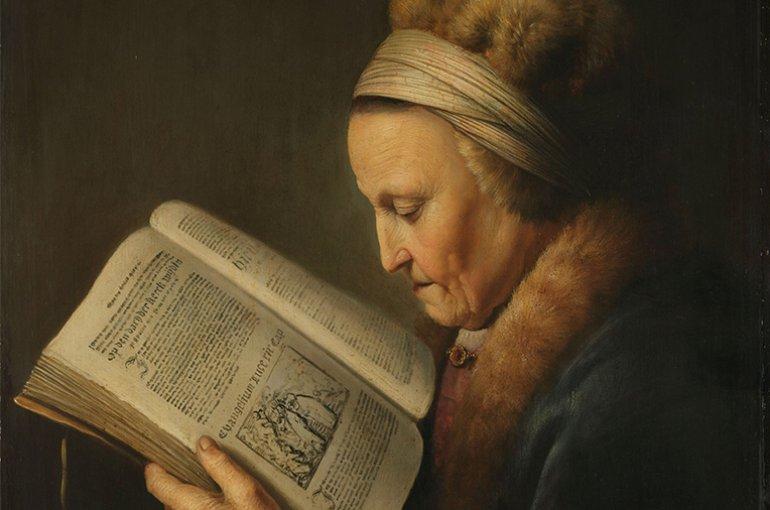 Gerard Dou, Old woman reading (portrait of Rembrandt's mother), c. 1631-32. Bron: Rijksmuseum.nl