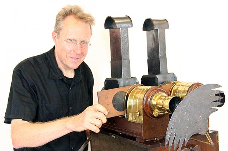 Prof. Erkki Huhtamo with his L. J. Marcy dissolving magic lantern pair (Philadelphia, c. 1870). Photo: David Leonard