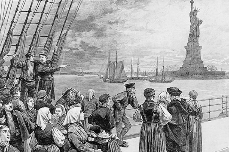 Immigranten arriveren in New York, 1887 © iStockphoto.com
