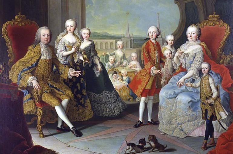 Maria Theresia van Oostenrijk en Frans I Stefan van Lotharingen met hun kinderen (1754) door Martin Meytens. Bron: Wikimedia