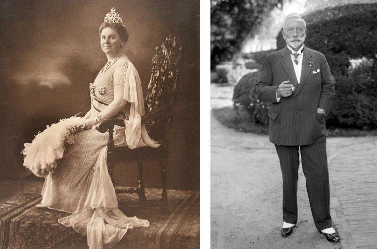 Koningin Wilhelmina (1931) en ex-keizer Wilhelm II in Doorn (1933)